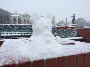 Snow Mickey at the Hub. Cast Members were making Snow Mickey's everywhere.