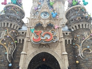 A closer shot of the 30th Anniversary decorations on Cinderella's Castle.