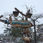 Splash Mountain Covered in Snow