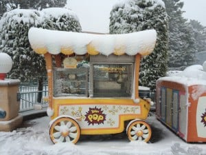 Caramel Popcorn Stand Covered in Snow