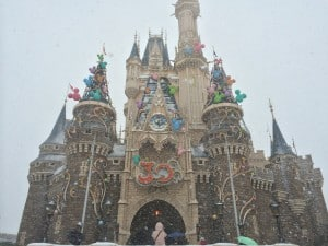 Cinderella's Castle Covered in Snow