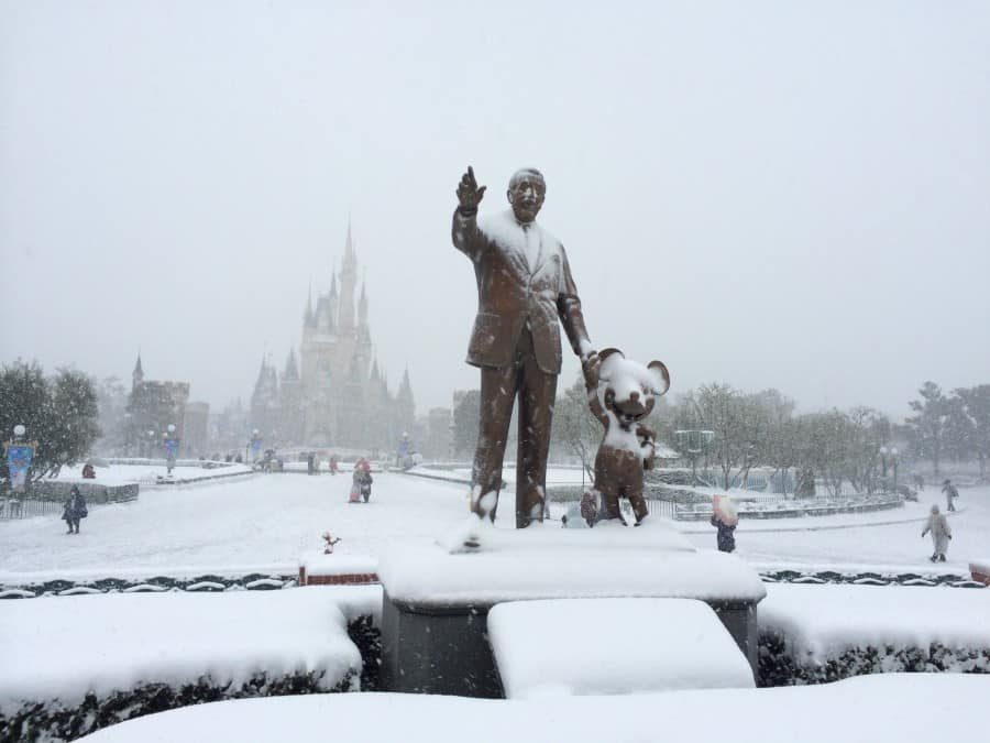 Partners Statue Covered in Snow