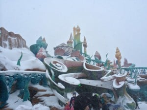 Mermaid Lagoon in Tokyo DisneySea Covered in Snow