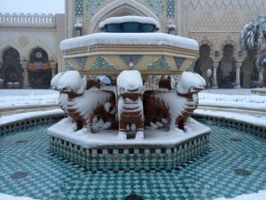 Fountain in Arabian Coast Covered in Snow