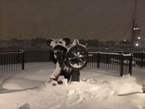 Sailor Mickey in the American Waterfront Under Blanket of Snow
