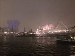 View of Tower of Terror and S.S. Columbia in Snow Blizzard at Tokyo DisneySea