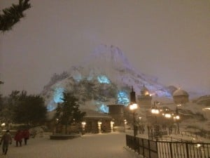 Mount Prometheus Covered in Snow at Night