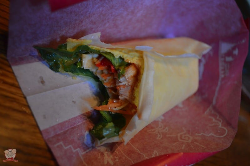 A closer look at the inside of the Chilled Chicken Creole Crepe. Apologies for the bite marks