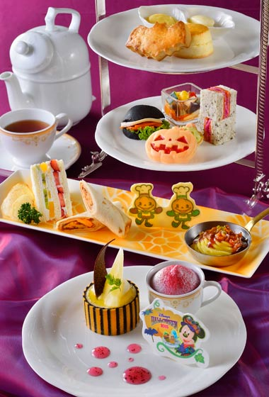 Disney's Halloween Afternoon Tea Set ¥3,190 Sandwiches & Hor d'oeuvres Scones Desserts Pear Charlotte Mont Blanc Grapes and Chestnut Jelly Fruit Shortcake Tea or Coffee (Please Note: Afternoon Tea Set is only available between the hours of 12.00 pm - 5.00 pm)