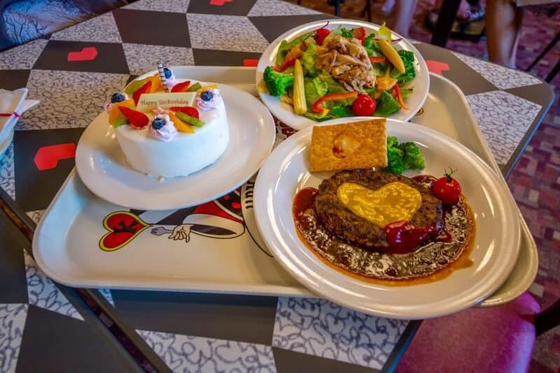 Queen of Hearts Banquet Hall Tokyo Disneyland Heart Hamburger Unbirthday Cake