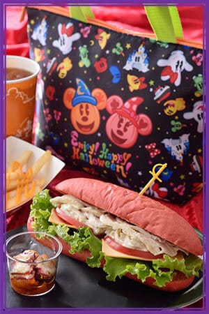 Villains Special Set, with Souvenir Lunch Case  ¥1,820 Inspired by Captain Hook (Meal only ¥990) Chicken and Potato Sandwich Marinated Octopus French fries over a Cheddar Cheese Sauce Soft Drink Available at New York Deli