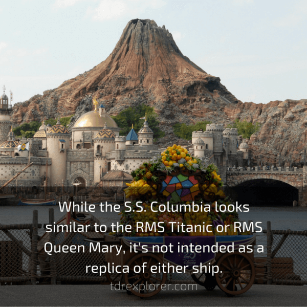 While the S.S. Columbia looks similar to the RMS Titanic or RMS Queen Mary, it's not intended as a replica of either ship.