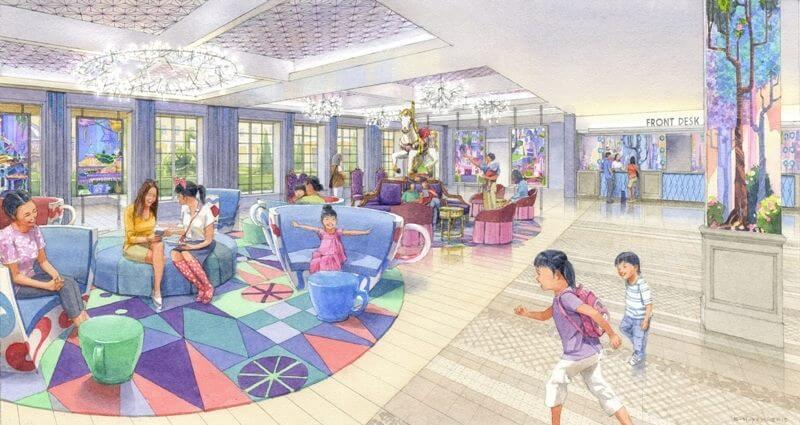 Concept image for the lobby at Tokyo Disney Celebration Hotel – Wish building