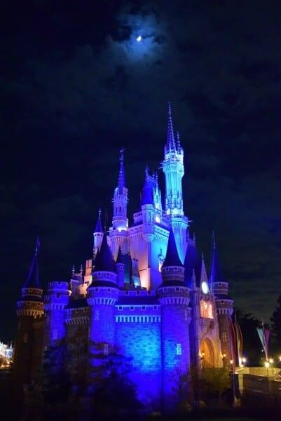 Cinderella Castle and the moon at Tokyo Disneyland