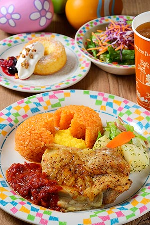 Grandma Sara's Special Set ¥1,580 Chicken, served in a Tomato Sauce, with Scrambled Eggs and Ketchup Rice Mini salad Grilled Donut Soft Drink Available at Grandma Sara's Kitchen