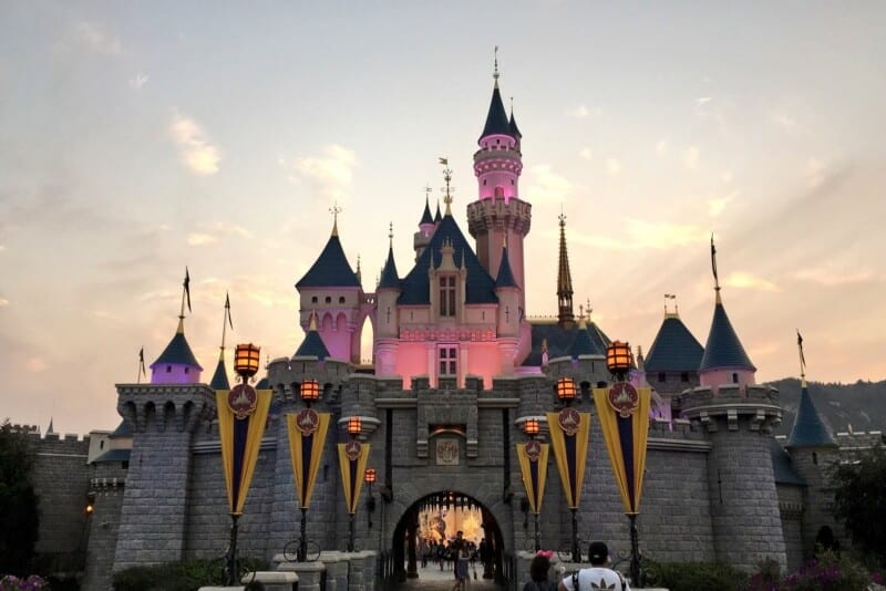 Sleeping Beauty Castle Sunset Hong Kong Disneyland