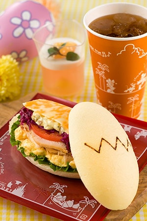 Sweetheart Cafe Special Set ¥990 Carbonara Chicken and Egg Sandwich Peach Jelly Soft Drink Available at Sweetheart Cafe