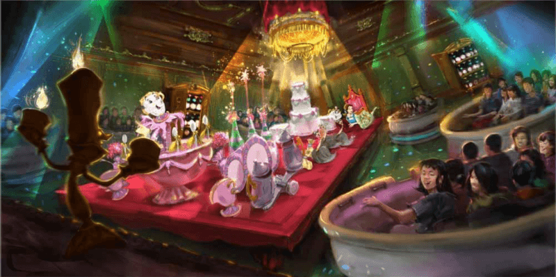 Concept Art Beauty and the Beast Attraction Tokyo Disneyland