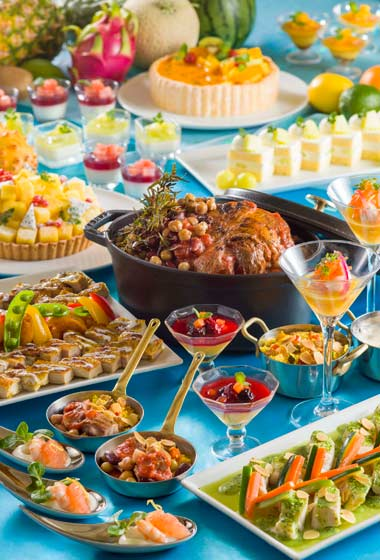 Summer Festival Buffet at Oceano Restaurant Lunch Prices Adults ¥4,200 Children (7-12 Years) ¥2,890 Children (4-6 Years) ¥1,860 Available between 11.30 am – 2.30 pm Dinner Prices Adults ¥5,500 Children (7-12 Years) ¥3,400 Children (4-6 Years) ¥2,780 Available between 5..00 pm – 10.00 pm Please Note: Priority Seating is required
