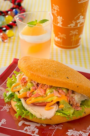 Sweetheart Cafe Special Set ¥990 With Souvenir Lunch Case ¥1860 Includes Sandwich with Creamy Wasabi Potatoes, Chicken and a Avocado Sauce Peach Jelly Soft Drink Available from Sweetheart Cafe