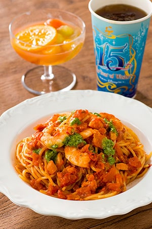 Zambini Brothers Ristorante Special Set ¥1,580 Includes Spaghetti and Shrimp in a Spicy Tomato Sauce Lemon Jelly and Tropical Fruit Dessert Soft Drink Available from the Zambini Brothers Ristorante