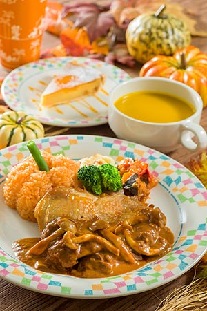 Grandma Sara's Kitchen Special Set ¥1,580 Chicken in a Demi Cream Sauce, served with Ketchup Rice Pumpkin Soup Apple Tart Soft Drink Available from Grandma Sara's Kitchen