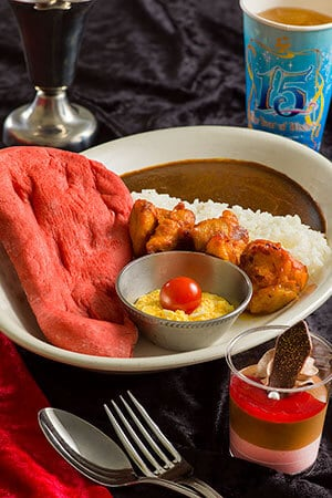 Special Set ¥1,580 (Inspired by Jafar) Set Includes Black Curry, Spicy Chicken served with Rice and Nan Bread Raspberry & Chocolate Mousse Soft Drink Available at the Casbah Food Court