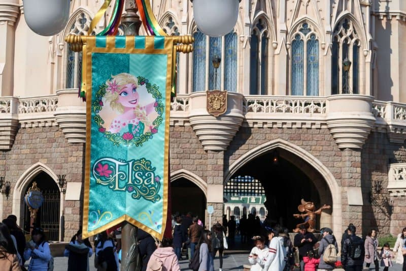 Anna and Elsa Frozen Fantasy Elsa Banner Tokyo Disneyland