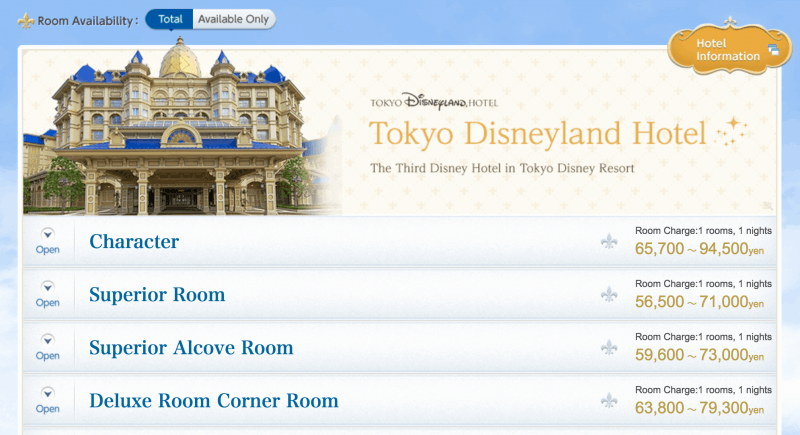 Tokyo Disney Resort Hotel Room Selection