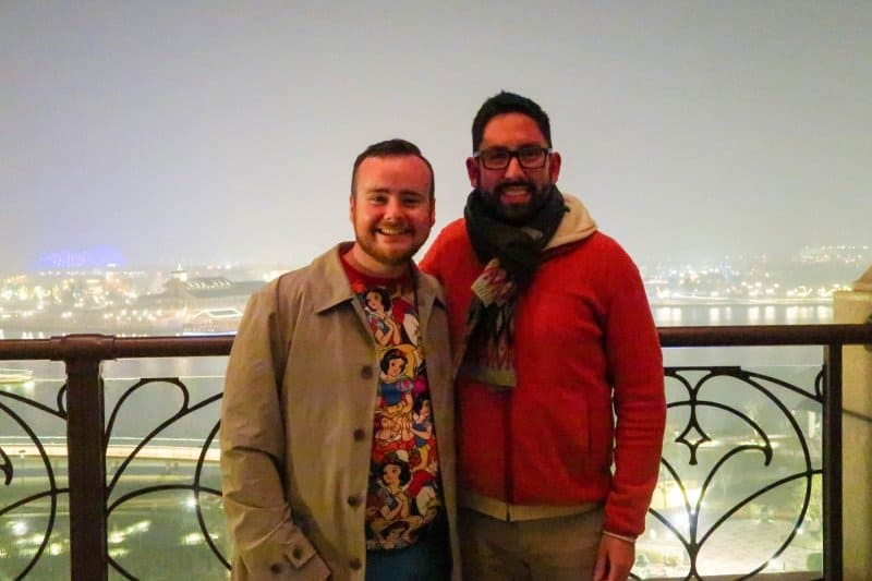 Chris and Bryson on the balcony at Aurora in the Shanghai Disneyland Hotel