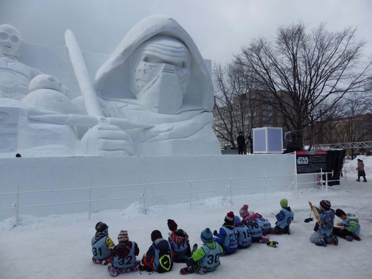 Kylo Ren Snow Sculpture in Sapporo