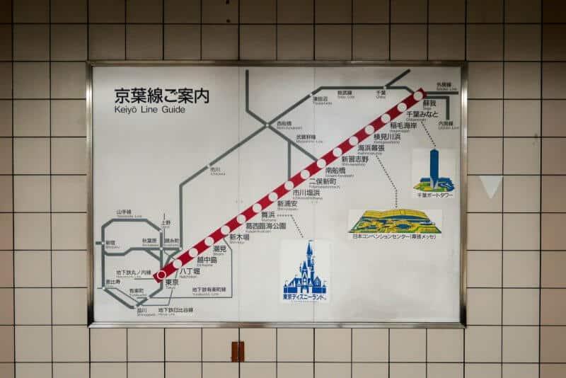 Keiyo & Musashino Line Map for Tokyo Disneyland