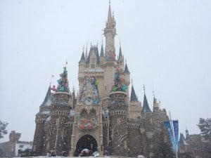 The beautiful Cinderella's Castle covered in snow.