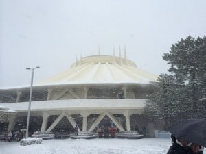 Space Mountain Covered in Snow