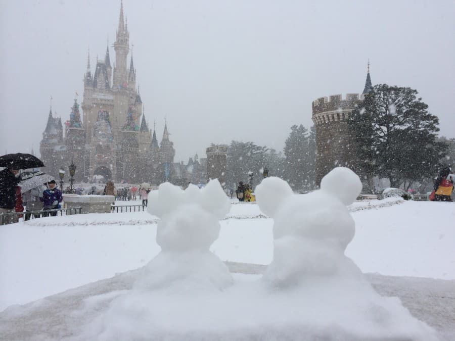 Mickey and Minnie Snowmen in front of Cinderella's Castle