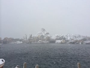 Mount Prometheus Covered in Snow in the Mediterranean Harbor