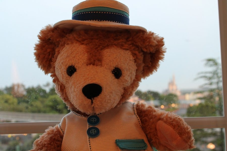 Duffy hangs out in our castle-view sitting room at Tokyo Disneyland Hotel.