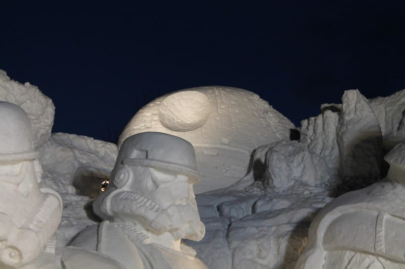 Star Wars Snow Sculpture Sapporo Japan Death Star