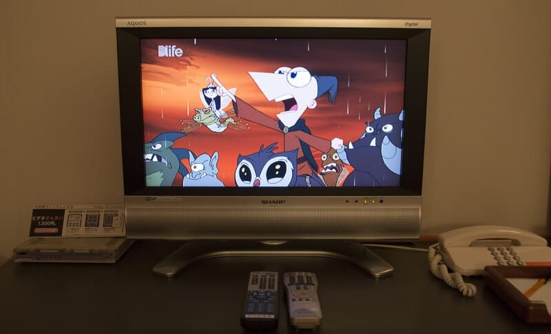 A small but practical TV in the room includes access to Japanese video-on-demand selections, and the Disney-owned DLIFE satellite channel.