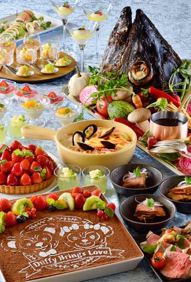 Buffet Lunch Adults ¥4,200 7-12 years ¥2,890 4-6 years ¥1,860 Buffet Dinner Adults ¥5,500 7-12 years ¥3,400 4-6 years ¥2,780