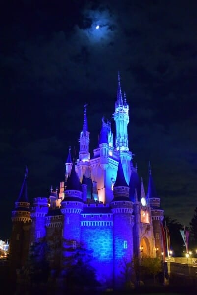 Cinderella Castle and the moon at Tokyo Disneyland