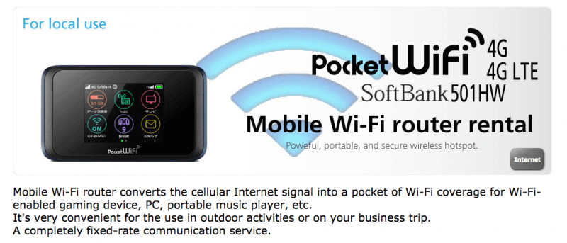 Softbank offers a mobile WiFi hotspot rental service. (Screencap from softbank-rental.jp)