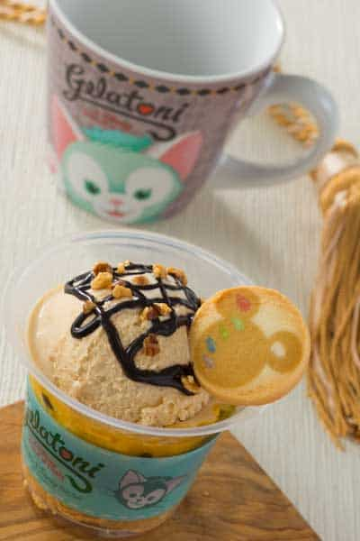 Caramel Gelato and Chocolate Mousse in a Souvenir Cup ¥920 Available from Gondolier Snacks
