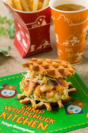 Waffle Sandwich with Shrimp and Avocado Sandwich only ¥700 Set ¥1,080 Set Includes French Fries Soft Drink
