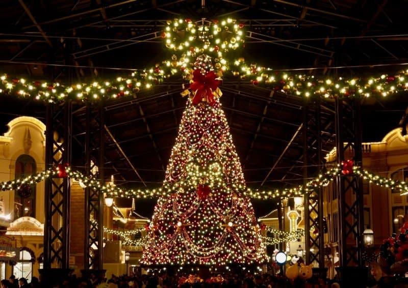 christmas tree nighttime tokyo disneyland christmas 2016