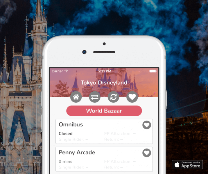 Download TDR Now to access wait times for Tokyo Disneyland & Tokyo DisneySea right on your iPhone.