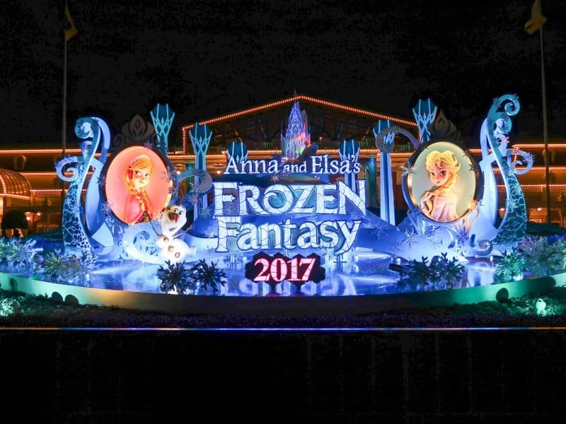 Anna and Elsa Frozen Fantasy Park Entrance Display Tokyo Disneyland