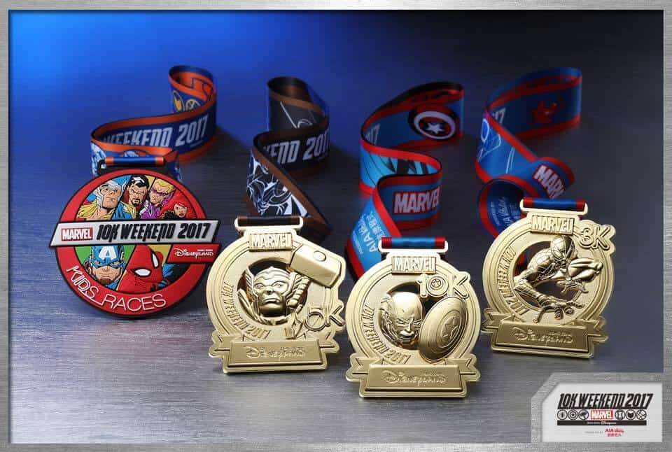 Kids Race, Thor 5k, Captain America 10k and Spiderman 3k Medals