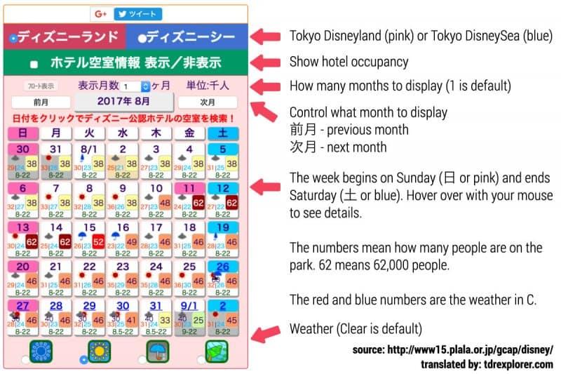 Tokyo Disneyland Crowd Calendar Explanation