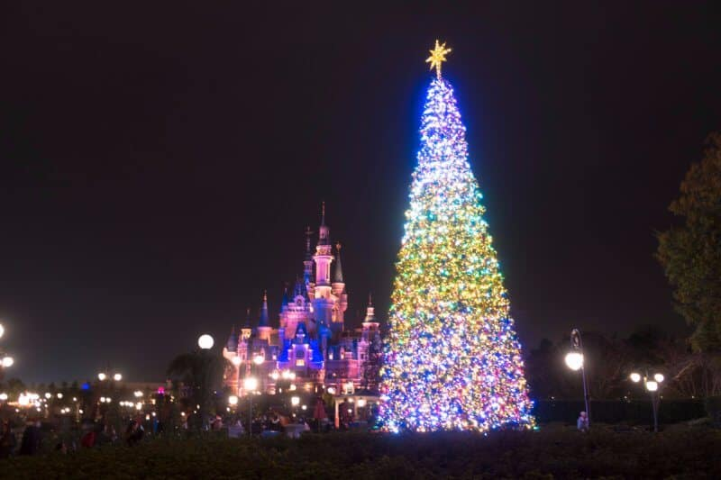 decorations christmas tree evening shanghai disneyland